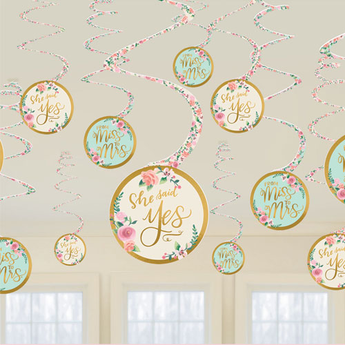Mint To Be Hen Party Hanging Swirl Decorations - Pack of 12