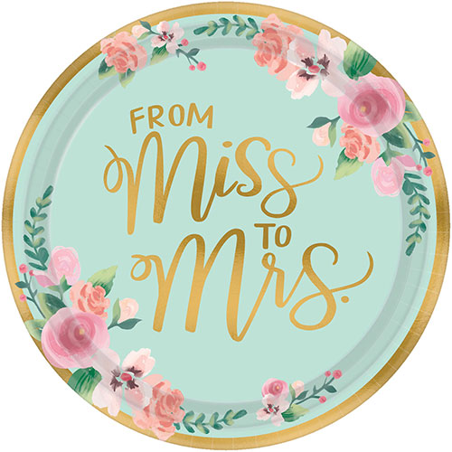 Mint To Be Hen Party Metallic Round Paper Plates 26cm - Pack of 8
