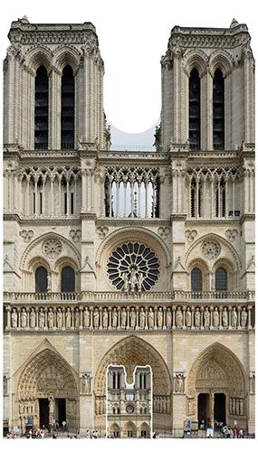 Notre-Dame French Cathedral Lifesize Cardboard Cutout 173cm