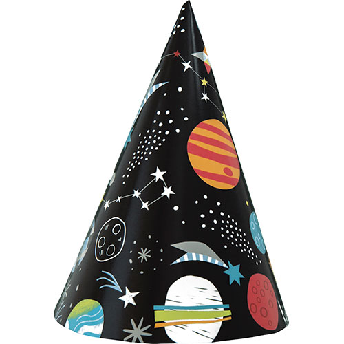 Outer Space Party Cone Hats - Pack of 8