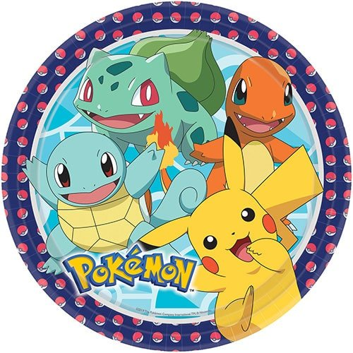 Pokemon Round Paper Plates 23cm - Pack of 8