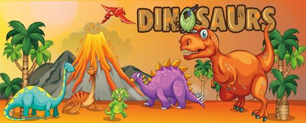 Prehistoric Dinosaurs Design Medium Personalised Banner - 6ft x 2.25ft