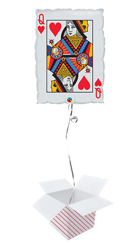 Queen Of Hearts And Ace Of Spades Casino Helium Foil Giant Qualatex Balloon - Inflated Balloon in a Box