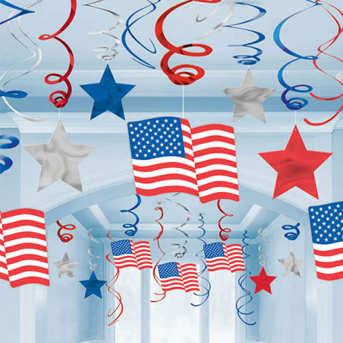 USA Hanging Swirl Decorations - Pack of 30