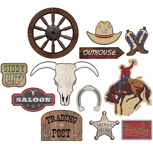 Wild West Paper Cutouts Decorations - Pack of 12