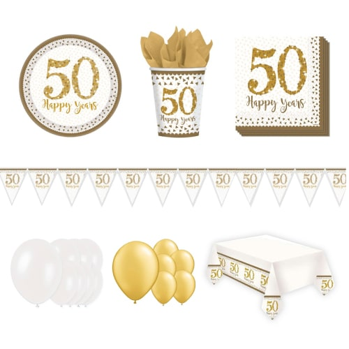 50th Golden Wedding Anniversary 16 Person Deluxe Party Pack