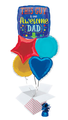 Awesome Dad Square Balloon Bouquet - 5 Inflated Balloons In A Box