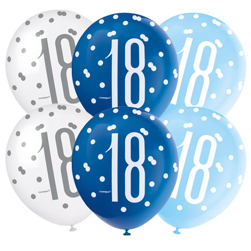 Blue Glitz Age 18 Pearlised Assorted Latex Balloons 30cm / 12 Inch - Pack of 6