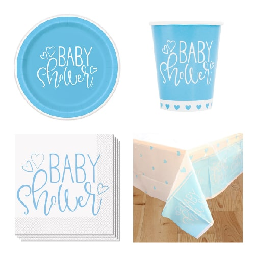 Blue Hearts Baby Shower 8 Person Value Party Pack