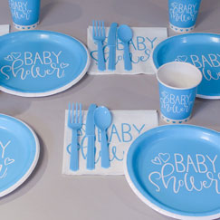 Blue Hearts Baby Shower Party Supplies