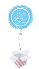 Blue Hearts Baby Shower Round Foil Helium Balloon – Inflated Balloon in a Box