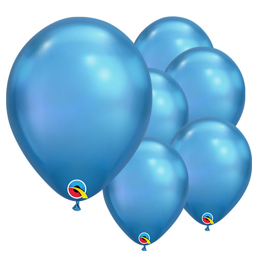 Chrome Blue Round Latex Qualatex Balloons 18cm / 7 Inch - Pack of 100