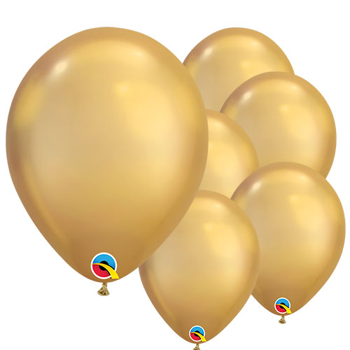 Chrome Gold Round Latex Qualatex Balloons 18cm / 7 Inch - Pack of 10 Product Image