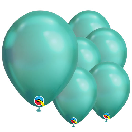 Chrome Green Round Latex Qualatex Balloons 18cm / 7 Inch – Pack of 10
