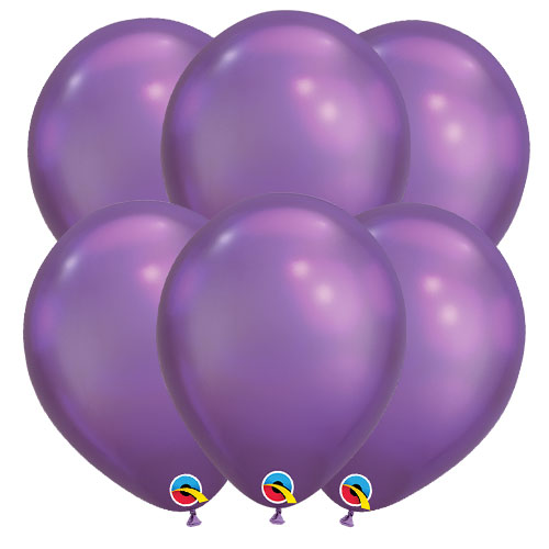 Chrome Purple Round Latex Qualatex Balloons 18cm / 7 Inch - Pack of 10