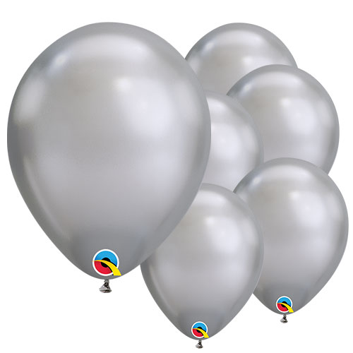 Chrome Silver Round Latex Qualatex Balloons 18cm / 7 Inch - Pack of 10