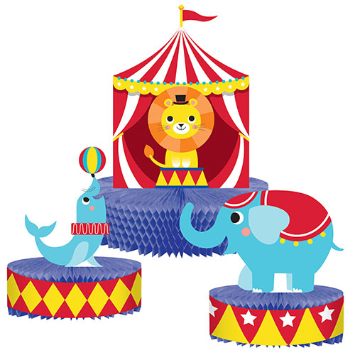 Circus Party Honeycomb Centrepieces Table Decorations - Pack of 3