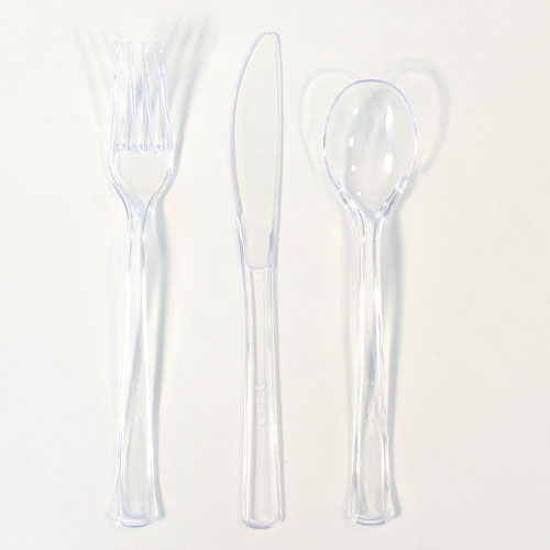 Clear Plastic Assorted Cutlery Set - Pack of 18