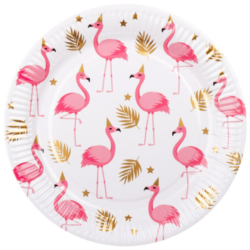 Flamingo Gold Foil Round Paper Plates 23cm - Pack of 6