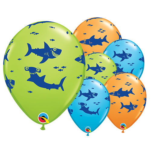 Fun Sharks Assorted Latex Helium Qualatex Balloons 28cm / 11 Inch - Pack of 25
