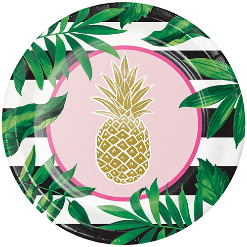 Golden Pineapple Foil Round Paper Plates 25cm - Pack of 8