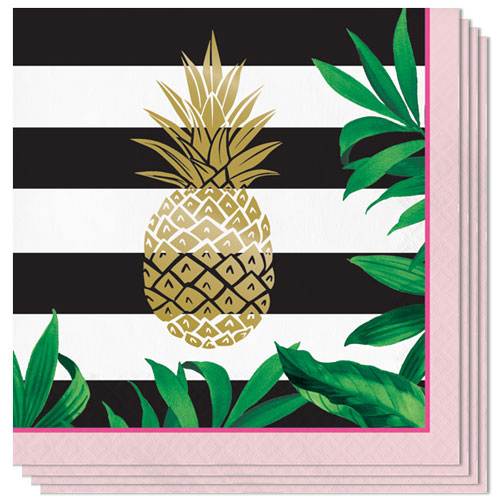 Golden Pineapple Foil Stamp Luncheon Napkins 32cm 3Ply - Pack of 16