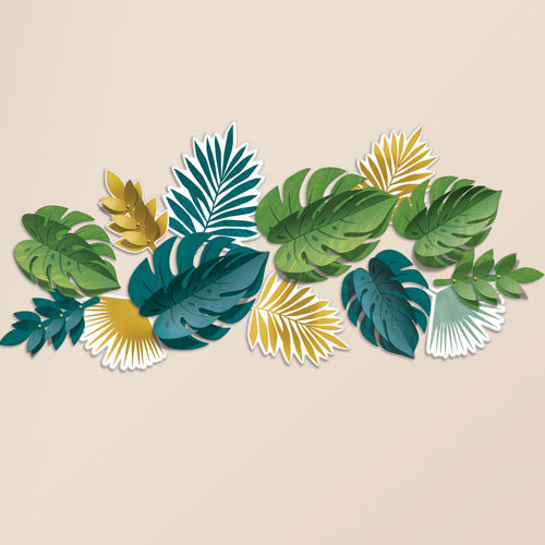Key West Tropical Leaves Wall Decorations - Pack of 13