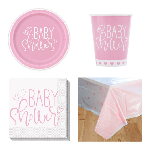 Pink Hearts Baby Shower 8 Person Value Party Pack
