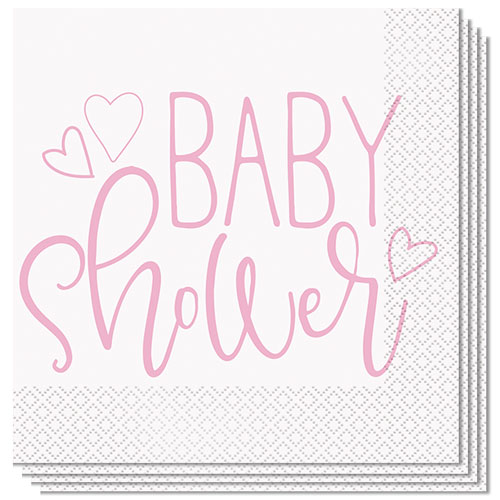 Pink Hearts Baby Shower Luncheon Napkins 33cm 2Ply - Pack of 16