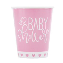 Pink Hearts Baby Shower Paper Cups 270ml – Pack of 8