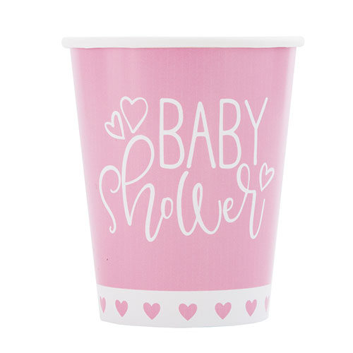 Pink Hearts Baby Shower Paper Cups 270ml - Pack of 8