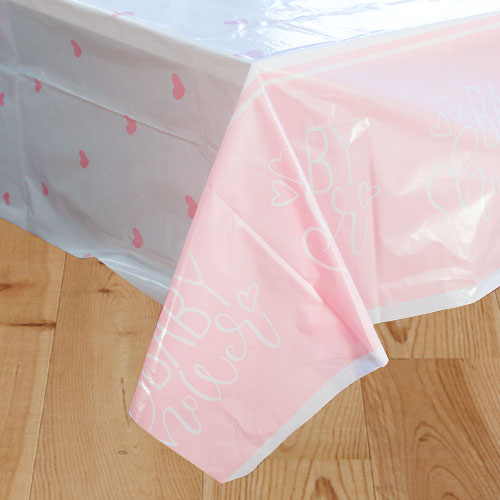 Pink Hearts Baby Shower Plastic Tablecover 213cm x 137cm