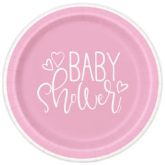 Pink Hearts Baby Shower Round Paper Plates 22cm – Pack of 8