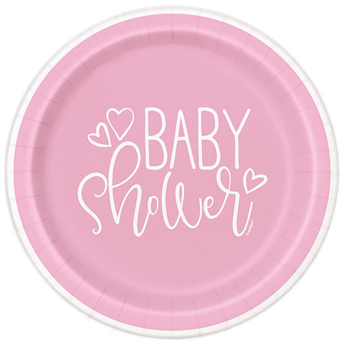 Pink Hearts Baby Shower Round Paper Plates 22cm - Pack of 8