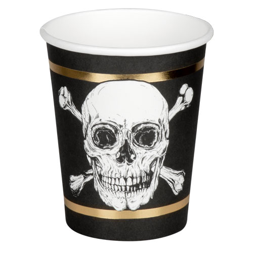 Pirates Gold Foil Paper Cups 250ml - Pack of 6