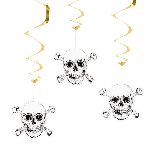 Pirates Gold Foil Swirl Decorations - Pack of 3