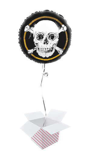 Pirates Gold Round Foil Helium Balloon - Inflated Balloon in a Box