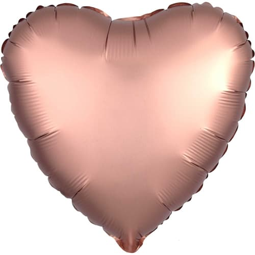 Rose Copper Satin Luxe Heart Foil Helium Balloon 43cm / 17Inch