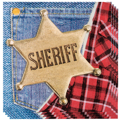 Sheriff Wild West Luncheon Napkins 33cm 2Ply - Pack of 12