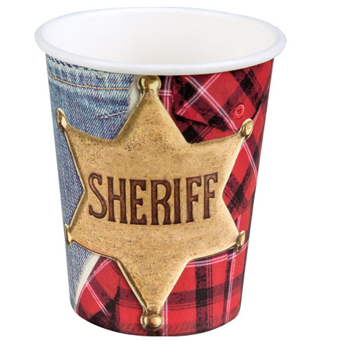 Sheriff Wild West Paper Cups 250ml - Pack of 6