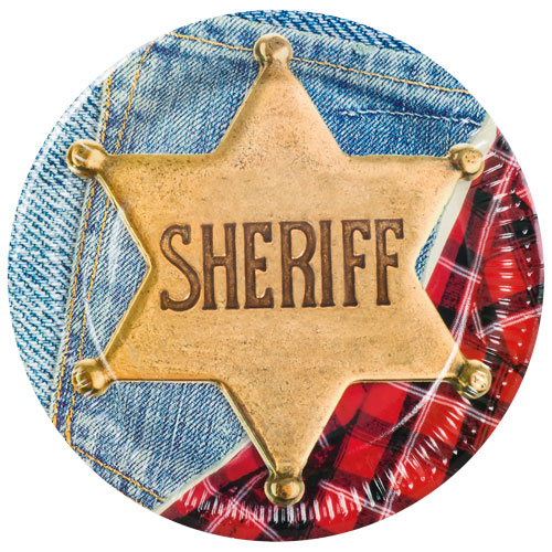 Sheriff Wild West Round Paper Plates 23cm - Pack of 6