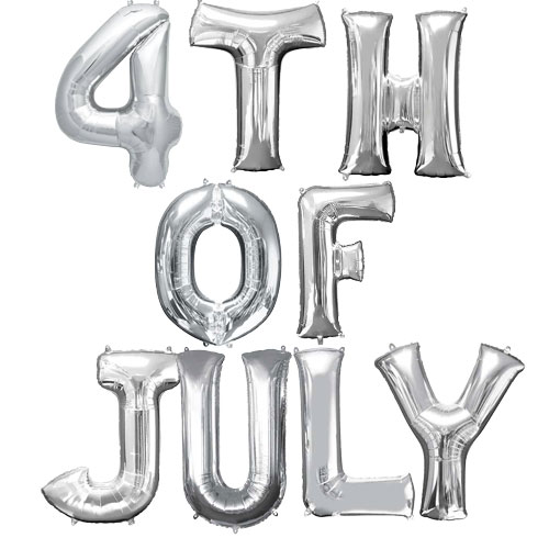 Silver 4th Of July Air Fill Small Foil Balloon Kit