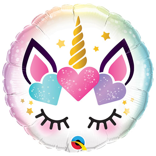 Unicorn Eyelashes Round Foil Helium Qualatex Balloon 46cm / 18 Inch