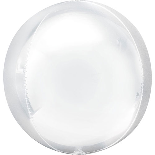 White Orbz Foil Helium Balloon 38cm / 15 Inch