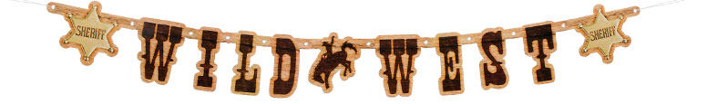 Wild West Cardboard Jointed Letter Banner 110cm