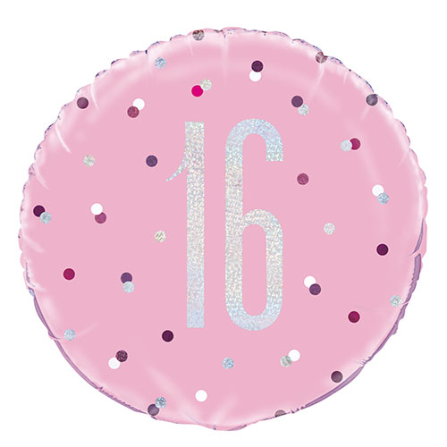 Pink Glitz Age 16 Holographic Round Foil Helium Balloon 46cm / 18 in