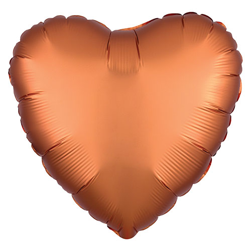 Amber Orange Satin Luxe Heart Shape Foil Helium Balloon 43cm / 17 in