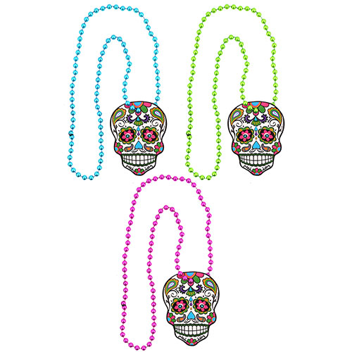 Assorted Day Of The Dead Halloween Fancy Dress Necklace 46cm Product Image