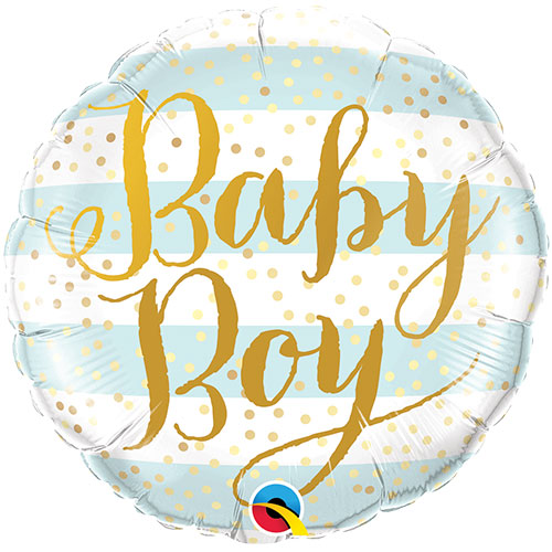 Baby Boy Blue Stripes Round Foil Helium Qualatex Balloon 46cm / 18 in