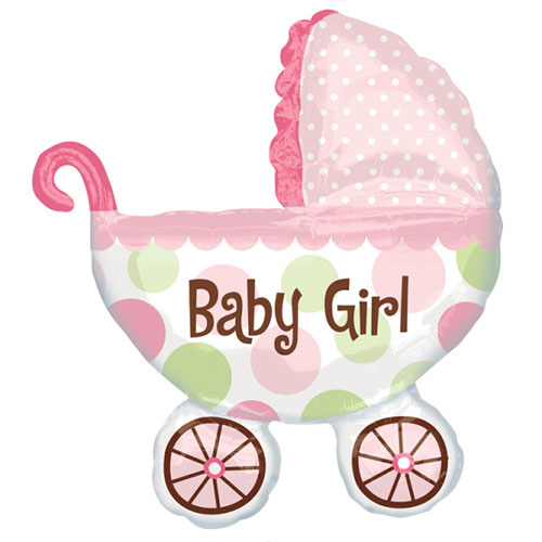 Baby Girl Buggy Supershape Helium Foil Balloon 79cm / 31 in